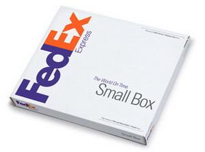 FedEx Small Box - малый бокс для отправлений магнитных лент, небольших документов, каталогов, папок, видео и аудио кассет и дисков.